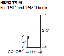 Head Trim for PBR and PBA Panels